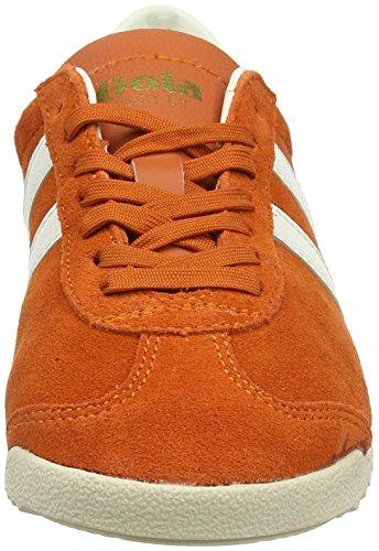 Gola Delle Donne Di Proiettile In Pelle Scamosciata Scarpa Da Tennis Di Mandarino Moda Arancione / Off-white