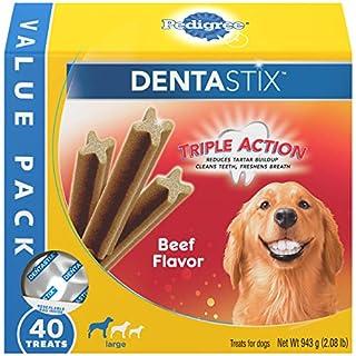 PEDIGREE DENTASTIX Large Dog Dental Treats Beef Flavor Dental Bones, 2.08 lb. Value Pack (40 Treats)