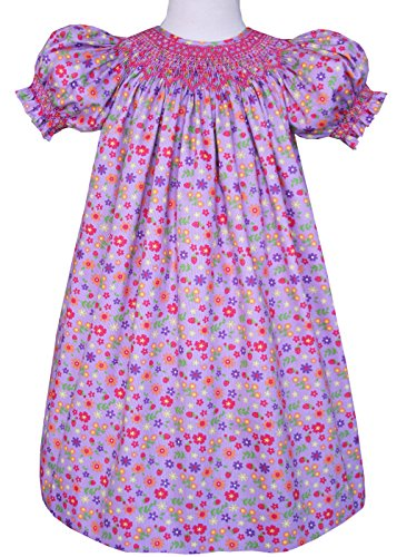 Carouselwear Girls Hand Smocked Bishop Dress in Floral Lavender Cotton
