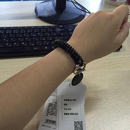 TOOGOO Keychain Chain Carabiner Clip Spring Spiral Anti-Theft Travel Bag Wallet Keychain - Black