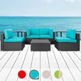 Walsunny 5pcs Patio Outdoor Furniture Sets,All-Weather Rattan Sectional Sofa with Tea Table&Washable Couch Cushions (Black Rattan)