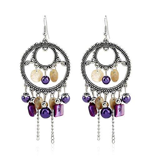 Bohemia Vintage Beaded Earrings For Women Beaded Tassel Chandelier Drop Dangle Earrings