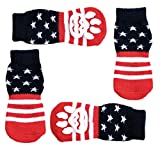 USA Flag Anti-Slip Knit Socks for Pets with Traction Soles for Indoor Wear. Slip On Paw Protectors for Small and Medium Breed Dogs. Stars and Stripes, L