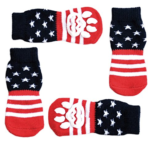 USA Flag Anti-Slip Knit Socks for Pets with Traction Soles for Indoor Wear. Slip On Paw Protectors for Small and Medium Breed Dogs. Stars and Stripes, XS by Posch
