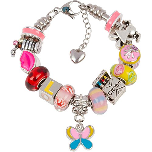 Timeline Treasures European Charm Bracelet With Charms For Girls, Stainless Steel Snake Chain, Back To School, Pink 6.5 Inch (Candy Stripes Murano Glass)