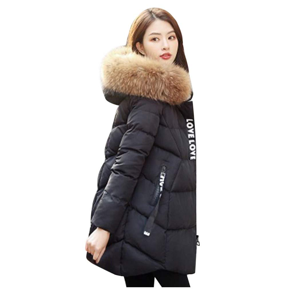 ✷ HebeTop ✷ Women's Down Coat with Fur Hood with 90% Down Parka Puffer Jacket Black by ▶HebeTop◄➟HOT SALES