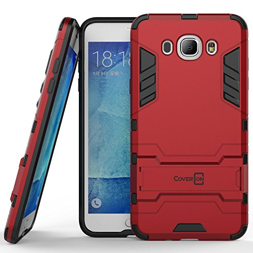 Galaxy J7 Case (2016, J710), CoverON [Shadow Armor Series] Hard Slim Hybrid Kickstand Phone Cover Case for Samsung Galaxy J7 2016 - Red & Black