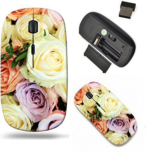 (Liili Wireless Mouse Travel 2.4G Wireless Mice with USB Receiver, Click with 1000 DPI for notebook, pc, laptop, computer, mac book Pastel roses in various colors in a mixed wedding arrangement IMAGE I)