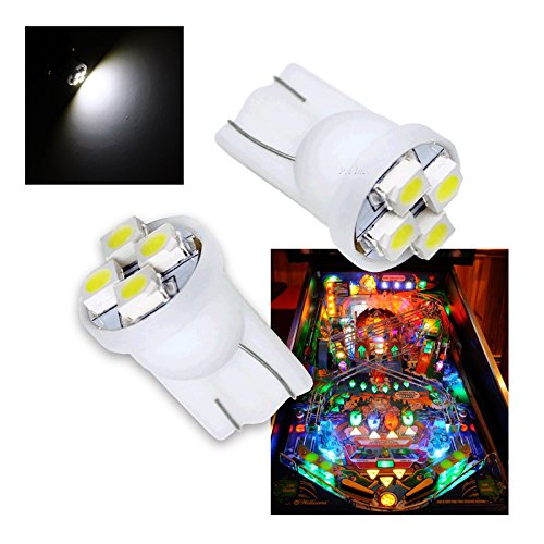 - PA® 10PCS #555 T10 4SMD LED Pinball Machine Light Bulb White-6.3V