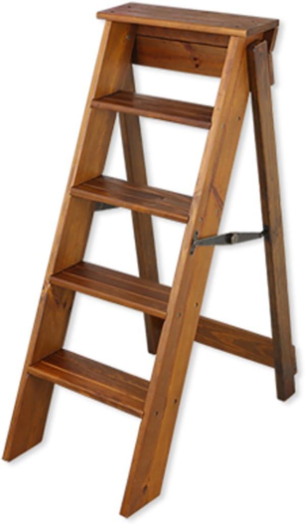 CAIJUN Escalera Plegable Uso Dual Madera Maciza Interior Cinco Pasos Madera De Pino Diestro Escaleras (Color : 1#): Amazon.es: Hogar