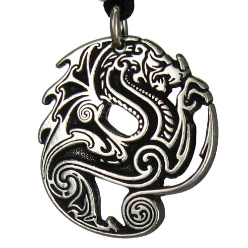 Warrior Dragon Pendant (Pewter Gothic Beowulf Dragon Pendant Necklace)