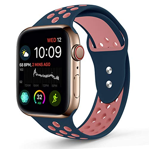 Compatible for Apple Watch 38MM,RUOQINI Dual-color Soft Silicone Sport Replacement Band Compatible for Apple Watch Series 3, Series 2, Series 1 (S/M Size in Mindihgt blue/Pink Color)