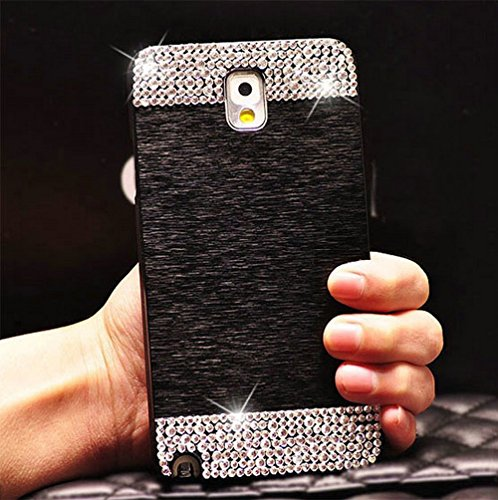 Galaxy Note 4 Case, Beauty Luxury Diamond Hybrid Glitter Bling Hard Shiny Sparkling with Crystal Rhinestone Metal Aluminum Back Cover Case for Samsung Galaxy Note 4 N9100 (Black, Galaxy Note 4)