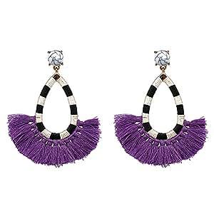 Women's Beaded Tassel Earrings Long Fringe Drop Bohemian Earings Dangle 6 Colors (Purple)