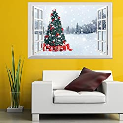 Christmas Wall Sticker by Vibola 3D Christmas Wall Sticker Removable Mural Decals Vinyl Art Living Room Decors by Vibola (B)
