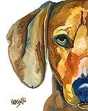 Dachshund Dog Fine Art Print on 100% Cotton Watercolor Paper