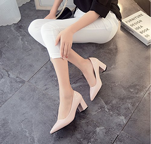 Gemustert Pink Low Blockabsatz Lack Klassich Pumps Cut Kunstleder Zehen Damen Aisun Spitz qPaOwnEg