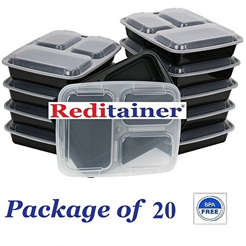 Reditainer - 3 Compartment Microwave Safe Food Container with Lid/Divided Plate/Lunch Tray with Cover, 20 Pack