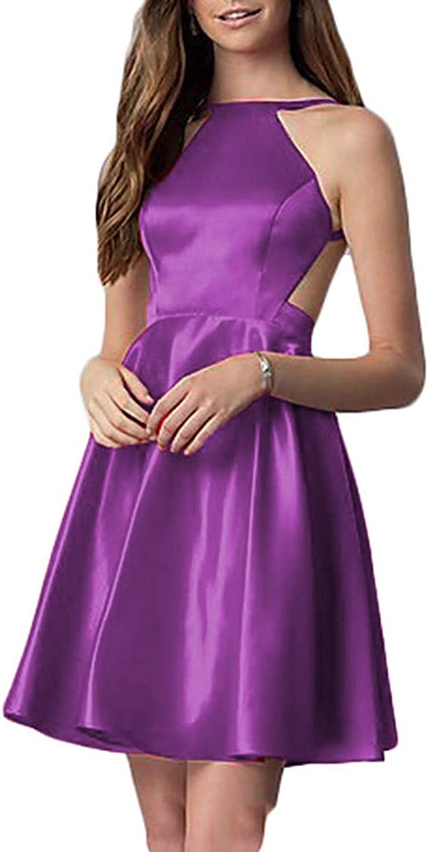 Juniors Short Halter Homecoming Dresses Satin Open Back Prom Party Plus Gown