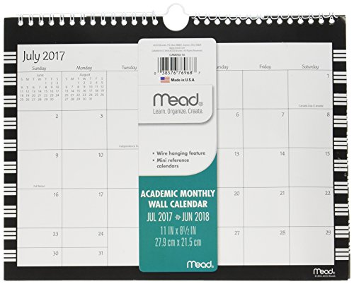 Mead Academic Monthly Wall Calendar, July 2017 - June 2018, 11' x 8-1/2', Wirebound, Simplicity, Color Will Vary (CAM20310)
