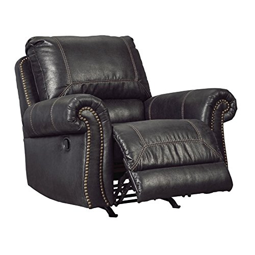 Ashley Furniture Signature Design - Milhaven Faux Leather Upholstered Power Rocker Recliner - Contemporary - Black from Signature Design by Ashley