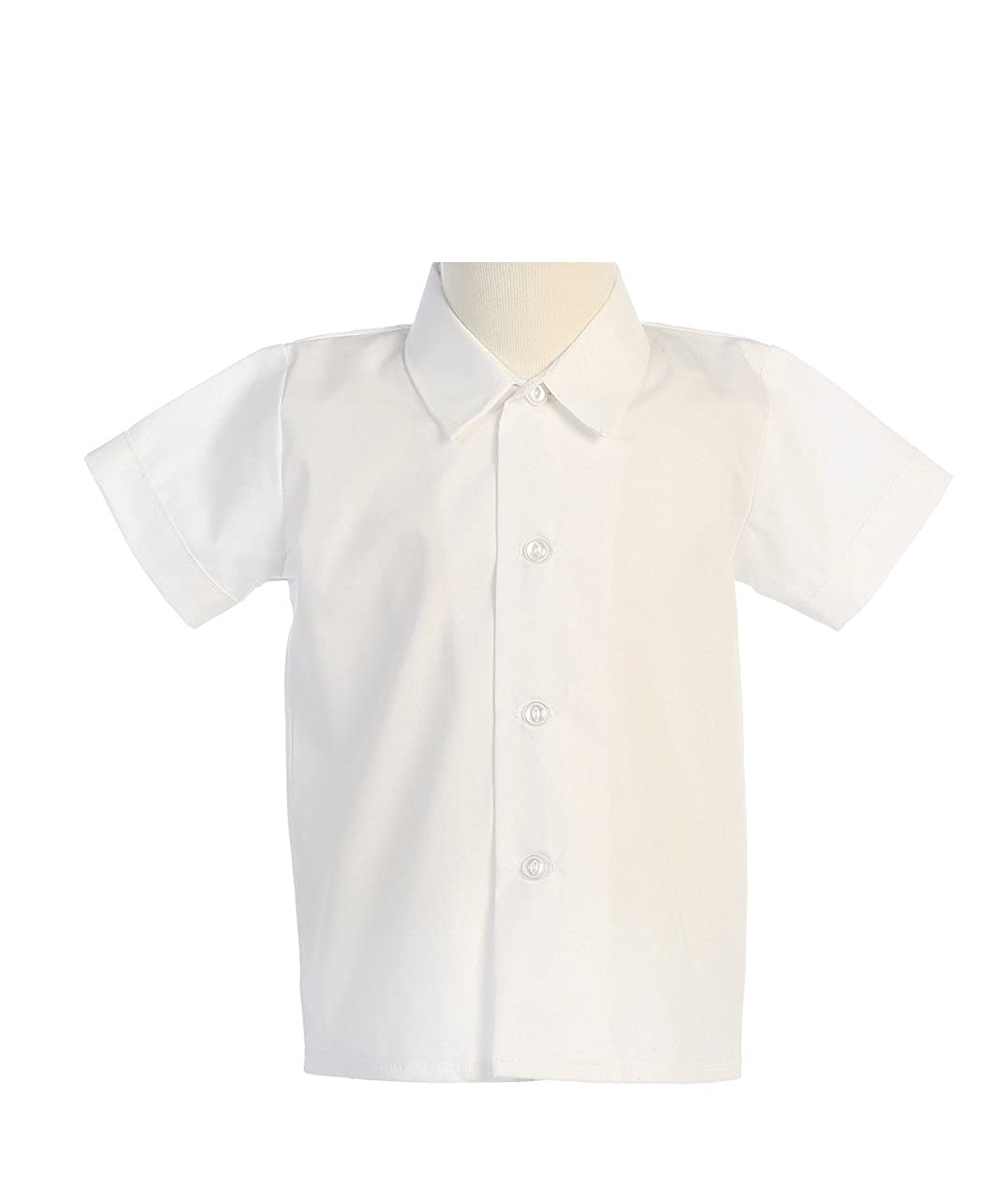 Lito Baby Boys Short Sleeved Simple Dress Shirt White or Ivory - Infant to Toddler