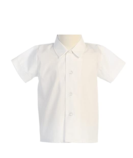 Kids 1950s Clothing & Costumes: Girls, Boys, Toddlers Lito Baby Boys Short Sleeved Simple Dress Shirt White or Ivory - Infant to Toddler $15.99 AT vintagedancer.com