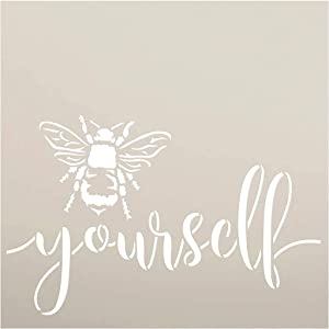 Bee Yourself Stencil by StudioR12 | DIY Farmhouse Bumblebee Home & Classroom Decor | Spring Script Inspirational Word Art | Paint Wood Signs | Reusable Mylar Template | Select Size (9 x 9 inch)