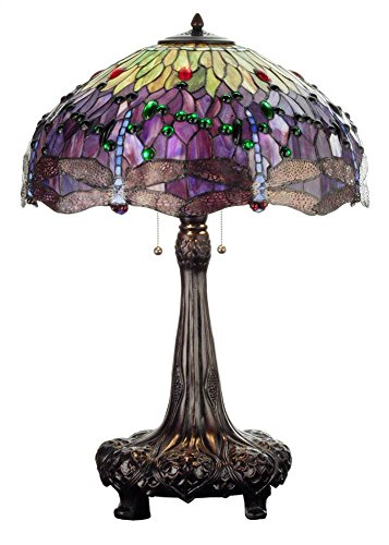 Meyda Tiffany 31112 Tiffany Hanginghead Dragonfly Collection 3-Light Table Lamp, Mahogany Bronze Finish with Dragonfly Stained Glass Shade - Meyda Tiffany Stained Glass Floor Lamp