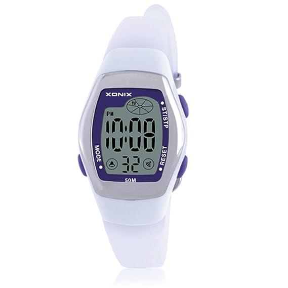 Niños reloj led digital multifunción impermeable natación chica estudiante reloj digital-E