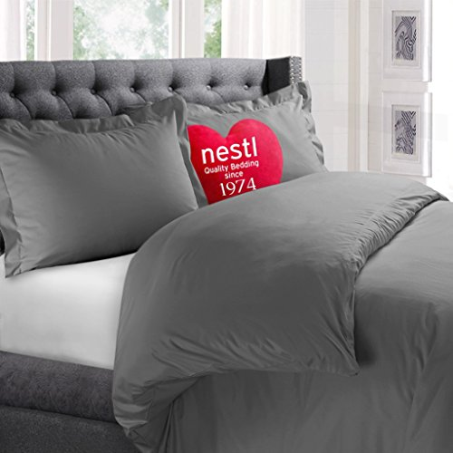Nestl Bedding Microfiber 3-Piece Duvet Cover Set with 2 Pillow Shams, Charcoal Grey