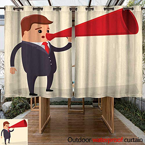 Home Patio Outdoor Curtain Vector Manager or Businessman shouts into a Megaphone W63 x ()