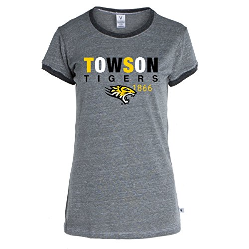 Official NCAA Towson University Tigers TU Doc the Tiger HAIL TOWSON! Women's Ringer T-Shirt (Ringer Tee Fitted Usa Womens)