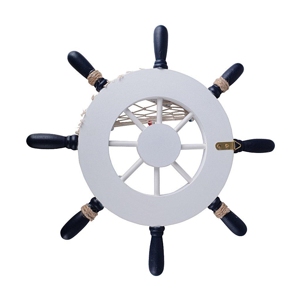 Tim/ón Rueda Barco Volante N/áutica de Madera Nave Decorativo Decoraci/ón Adorno de Pared con Red de Pesca Concha Estrella de Mar Diametro 32cm