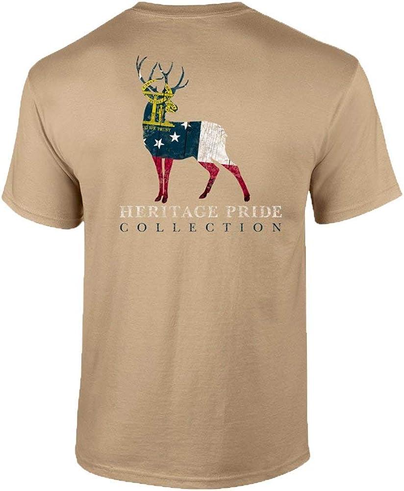 Heritage Pride Georgia Deer Patriotic Adult Tee Shirt Black