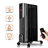 Trustech Portable Oil Heater, Adjustable Thermostat, 1500W, Remote Control, Digital Display, Comfortable Radiator Heating Perfect Small, Medium & Large Room, OH907-1, Black