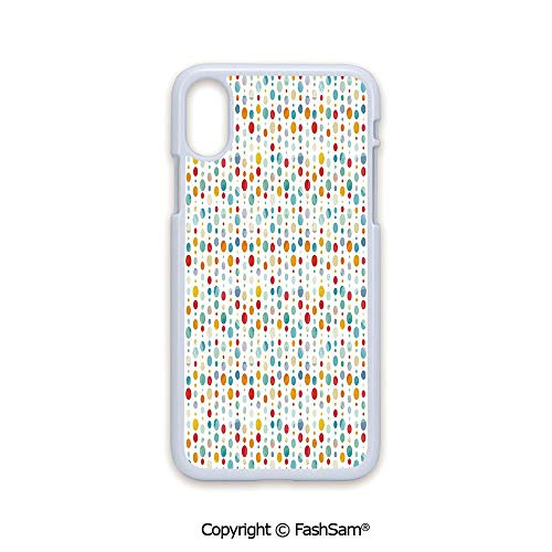 (Plastic Rigid Mobile Phone case Compatible with iPhone X Black Edge Colorful Circular Large Dots Bubble Happy Hipster Kids Nursery Stylish Fun Print Decorative 2D Print Hard Plastic Phone Case)
