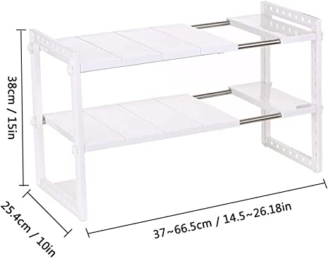 Expandable Under Sink Organizer with 2 Tier Adjustable Shelving and Storage Shelves for Bathroom Kitchen Pantry