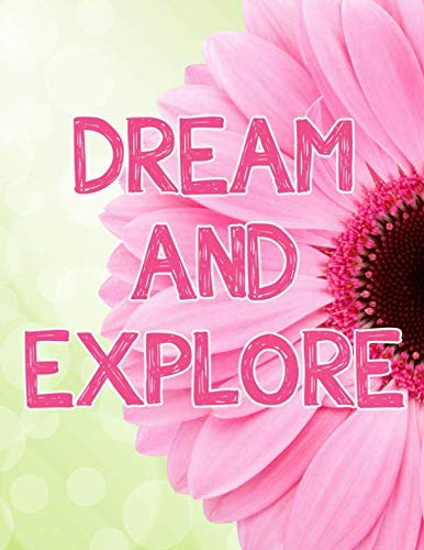 Dream and Explore Notebook Journal Tablet: Pink Flower with Green Bokeh Background 8.5 x 11