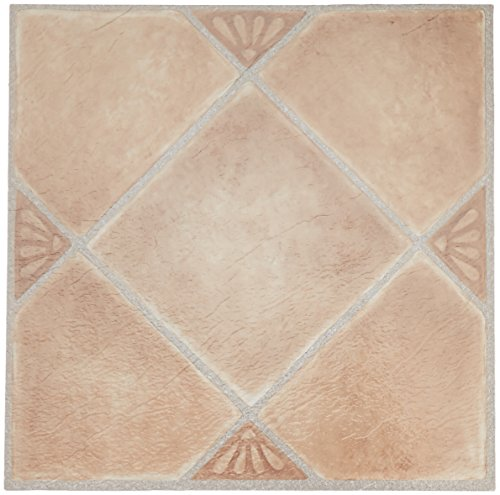 12x12 Beige Tile Flooring - Achim Home Furnishings FTVGM33520 Nexus Self Adhesive Vinyl Floor Tiles, Beige Clay Diamond with Accents, 12 x 12-Inch, 20-Pack