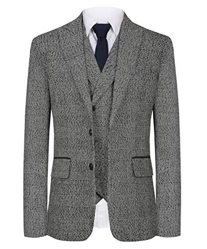 CMDC Men's New Casual Slim Fit Skinny dress Vest Business Suits Three-piece D163£¨Grey,40 Short£
