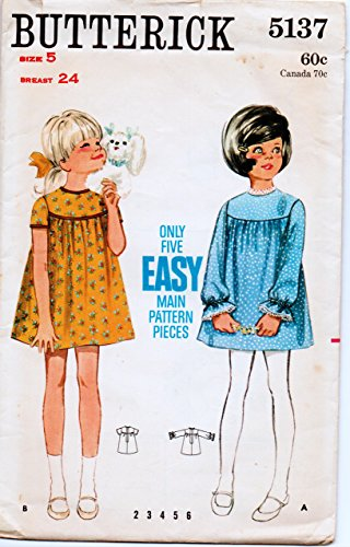 Butterick 5137 Girls' Dress. Gathered Dress with Yoke and Round Neckline Sewing Pattern, Size 5 Breast 24 Vintage 1960s Round Yoke Dress