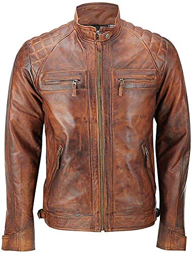 King Leathers Men's Leather Jacket Motorcycle Bomber Biker Real Lambskin Leather Distress Brown Vintage Jacket for Men MJ33