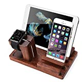 MOOZO Rosewood Multi-Device Desktop Charging Dock Station Charger Holder Cradle Stand Compatible for iPhone X 8 7 6 6S Plus iPad Mini Apple Watch/iWatch 2 3 4 Samsung Galaxy S8 S7 Edge Smartphones