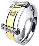 Epinki Men's Stainless Steel Jewelry Wedding Rings Inlay White Cubic Zirconia Gold Silver Size 9
