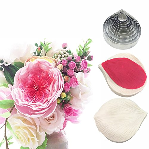 AK ART KITCHENWARE Leaf and Flower Tool Kit Stainless Steel Cookie Cutter Set Silicone Veining Mold Petal Texture Tool Sugar Flower Making Tool A361-1&VM057