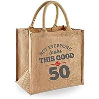 50th Birthday Keepsake Gift Bag Present for Women Novelty Jute Shopping Tote