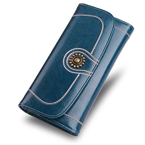 d2bac2c78200a Damen Geldbörsen Echtes Leder Große Luxus Wachs Glatte Oberfläche  Reißverschluss Reise Geldbeutel Frauen Portemonnaie Kartenhalter Brieftasche