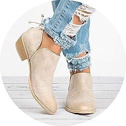 Late-love Women Boots Female Square Heel Slip on Women High Heels Shoes Pointed Toe Casual Ladies Women,Beige,41