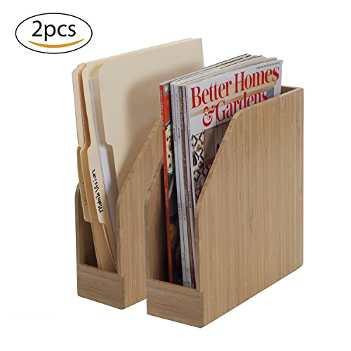 Bamboo Vertical File Folder Holder & Office Product Organizer, Store Files, Magazines, Notepads, Books and More, 2 Pack Combo Set by MobileVision (Image #2)